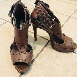 ALDO brown studded heels